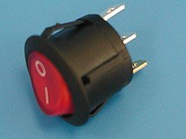 Выключатель 3 конт. круглый, d 20мм, с подсветкой (вкл.-выкл.) (RL3-511/N-G-RE/BK-P5)