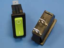Выключатель 2 конт. 28х12мм, зеленый, без фиксации (R455KMFTOFA/SC791-2-PG/BK)