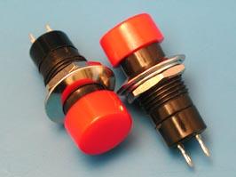 Кнопка круглая 14мм 220в 1А с фикс.(В161А) (красная)