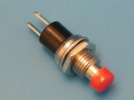 Кнопка круглая 5мм 220В 0,3А крепл. гайка НР (красная)