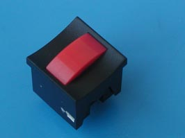 Кнопка мини без фикс. красная в черном корп