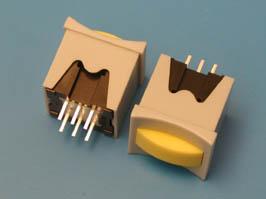 Кнопка мини без фикс. желтая в сером корп