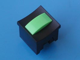 Кнопка мини с фикс. зеленая в черном корп