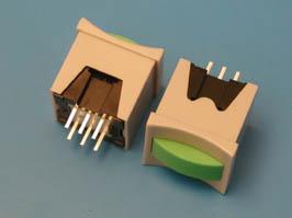 Кнопка мини с фикс. зеленая в сером корп