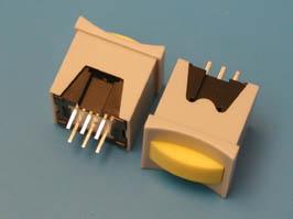 Кнопка мини с фикс. желтая в сером корп