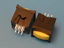 Кнопка мини с фикс. желтая в черном корп