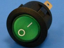 Выключатель 3 конт. круглый, d 20мм, с подсветкой (зеленый) (вкл.-выкл.)