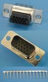 Разъем 15pin.VGA(п) на кабель, обжимные контакты (HDD-15M-92)